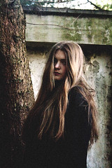 bohemian (.drew (Andrew Kelly)) Tags: portrait woman tree sexy texture girl stone scotland grain longhair free naturallight aberdeen bark portraiture grainy bohemian andrewkelly catrionamacdonald