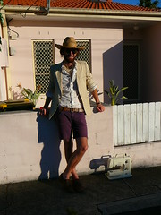 Ian L. 3 (jen.tom2012) Tags: men hat shirt jacket prints shorts sewingmachine blazer strawhat neutrals purpleshorts leatherbelt printedshirt leatherlaceups shortsandshirt cowboyhatleathershoes urbancowboycosmopolitancowboy