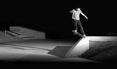 (Justin.photo) Tags: lighting justin blackandwhite sports cool intense skateboarding action skate trick grind lanier strobe justinlanier strobist 52week37