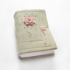 linen journal with crochet flower (Lariata) Tags: pink flowers wedding white art nature notebook grey handmade linen diary crochet journal craft sketchbook fabric accessories handmadejournal