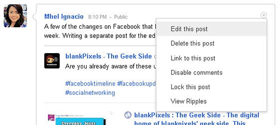 Google Plus allows you to edit your post