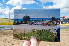 Hell Corner at Mount Panorama, Bathurst  October 1951 (Carolyn's Memories) Tags: racing vehicles nsw bathurst motorracing sportscar sportscars 2795 mountpanorama hellcorner abcopen:project=nat2 ronedgerton frankkleinig