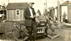My Grandfather & his motorcycle. (Cragin Spring) Tags: family chicago illinois midwest il oldphoto henderson grandparent 4cylinder superx footclutch handshift