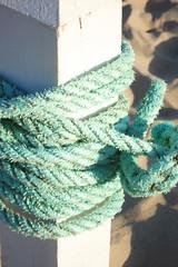 Aqua Rope (such pretty things) Tags: beach sand aqua rope knot worn twine shabby