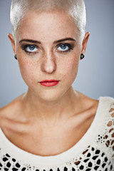 Hildur (LalliSig) Tags: blue red portrait woman white haircut black fashion hair studio iceland gray makeup portraiture short