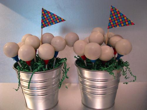 golf ball cake pop centrepieces