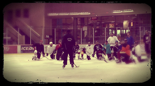 Brad Perry coaching an adult group at the Ice den