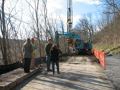 12 RTW Engineers say MUB is going the extra mile to keep dirt and mess to a MINIMUM.  This will help keep the trail open while construction is ongoing. (CityofMorgantown) Tags: west wall work virginia construction crane rail trail wv morgantown drill retaining pave caperton