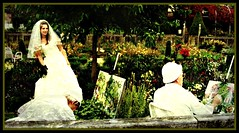 Bride and painters - in a romantic and historic garden , 50-43/1375 (roba66) Tags: portrait people woman color lady garden painting t bride nice model pretty portraiture painter romantic frau modell effecte photosandcalendar memorycorner lovely~lovelyphoto pomeranzengarten roba66