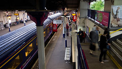 IMGP2490 (silverfish51) Tags: travel england people station train angle pentax wide platform sigma railway gloucestershire commute 1020mm spa hst kx chelenham