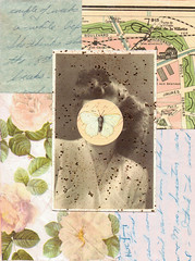 she loved mysteries so much that she became one (Kid_Curry) Tags: art floral collage glitter butterfly map letter vintagephoto kidcurry