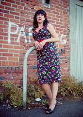 Alleyway pose (Vorona Photography) Tags: old city urban woman black building brick girl wall female night hair cherry grit photo washington pretty dress state pacific northwest image district no south parking picture gritty historic retro neighborhood photograph rockabilly local tacoma raven haired pinup