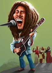 Bob Marley (Carlos Castro Prez) Tags: portrait music color green love dreadlocks illustration chorus composition star guitar drawing song jamaica sing singer caricature microphone caribbean reggae marley dreads jamaican rasta bobmarley onelove rastafari westindies guitarrist carloscastro ccp85 ithreebob