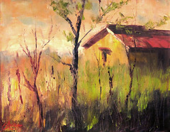 Farmhouse in the Hay, Florence, Italy (ChristopherClarkArt) Tags: chris original autumn sunset italy abstract tree green art fall texture nature grass architecture modern painting season landscape vineyard artwork italian paint mediterranean artist acrylic afternoon seasons drawing contemporary fineart hill christopher daily tuscany clark painter oil draw chrisclark tuscan toscano dailypainting christopherclark dailypainter