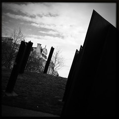 New Zealand War Memorial (firstnameunknown) Tags: newzealand sculpture london monochrome bronze blackwhite crosses standards warmemorial hydeparkcorner pauldibble wonderlens iphoneography johnhardwicksmith hipstamatic blackeyssupergrainfilm