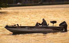 Fishing boat at sunset (speedcenter2001) Tags: monochrome skyline wisconsin boat fishing madison nikon600mmf40edifais