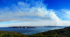 Sydney harbour and fire (LSydney) Tags: panorama fire smoke sydney sydneyharbour northhead controlburn