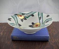 Art Deco Japanese Bowl (Lo & Co Vintage) Tags: china orange black green geometric japan vintage japanese gold dish antique bowl retro handpainted artdeco etsy fruitbowl madeinjapan meito locovintage loandcovintage