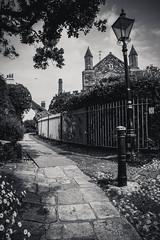 Lamp Post (BazookaKaboom) Tags: road uk england blackandwhite bw white black tree church lamp architecture outside iso100 kent post rye cobble daytime southeast bk