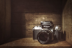 My First Nikon Camera (ScottNorrisPhoto) Tags: stilllife black slr vintage silver lens photography nikon gear used explore photoaday filmcamera nikonf2 tabletop photooftheday vintageglass warmtones woodenbox 365project scottnorrisphotography
