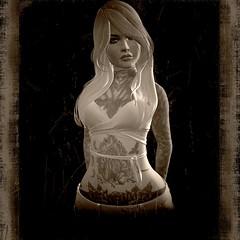 Found in Attic (Zeno.Lynn) Tags: portrait people white black sepia contrast person alone solo scratch