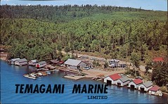 Temagami Marine Ltd., Inlet Bay, Ontario (SwellMap) Tags: architecture vintage advertising design pc 60s fifties postcard suburbia style kitsch retro nostalgia chrome americana 50s roadside googie populuxe sixties babyboomer consumer coldwar midcentury spaceage atomicage