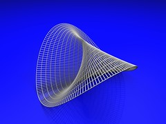 Plcker's Conoid (fdecomite) Tags: 3d geometry surface prototyping math povray plucker ruled hyperbolic paraboloid conoid pluecker
