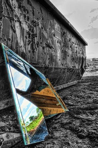sky reflection broken glass trash dumpster mirror garbage nikon gimp busted hdr topaz photomatix d7000