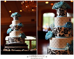 Pro Caitlin (Christina's Dessertery) Tags: wedding white black cake sugar round peonies stenciling fondant buttercream gumpaste christinajohnson carolinablue 5tier diamondquilting creativecakedesigns