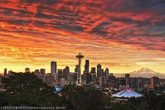 EPIC (Explore 3/26/12) (Silverder) Tags: seattle red yellow sunrise washington mountrainier spaceneedle seattleskyline seattlesunrise kerryparksunrise epicsunrise