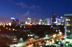 """...I can see the city lights (EXPLORED) (Mister Blur) Tags: avenue blur bokeh brickell buildings citylights cityscape d60 desenfoque downtown goldenhour lights miami nikon petergabriel rocoeno skyscrappers solsburyhill rubén rodrigo fotografía flicker blurry"