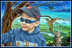 Young Elvis (jta1950) Tags: boy portrait people cats painterly bird sunglasses animal kids cat children kid kitten feline child hummingbird background ducks frame enfant garcon 3yearold lx5 dmclx5