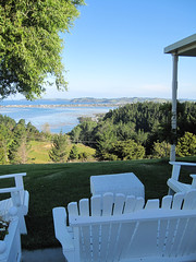 Adirondacking (russelljsmith) Tags: blue friends newzealand summer vacation holiday color green sunshine garden table fun living chair chairs lawn bach nz omaha adirondack 2012 verander 77285mm