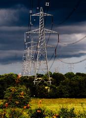 Summer Lighting, Storm over Cables (kitmasterbloke) Tags: lighting power pylon electricity unusual essex castlehedingham nationalgrid cegb ukpowernetworks skyskieseastangliastormweathersummerrain