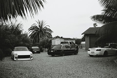Backyard Shoot (Matt Kingery) Tags: california camera old school trees white black film yard honda back san nissan photoshoot infinity diego convertible olympus vert palm fender bmw roll range s2k finder coupe g35 gravel s2000 e30 datsun slammed roadster 240z