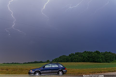 Subaru and Lightning (kevin-palmer) Tags: blue trees summer cloud storm field car rain electric night buzz illinois wire streak pentax july drought subaru bolt strike outback powerline thunderstorm lightning shoulder impreza antioch thunder wadsworth kx buzzing tamron1750mmf28
