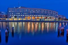 Tampa General Hospital (Photomatt28) Tags: reflection night tampa lights florida dusk nik pilings bluehour hdr topaz hillsboroughriver tgh tampageneralhospital oloneo