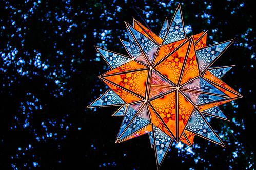 Lantern in Tree @ Illuminares Festival (Jason Gallant.) blue orange tree geometric festival vancouver canon eos lights competition lanterns shape troutlake lanternfestival illuminare 60d tyeechoice