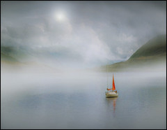 Scotch Mists (adrians_art) Tags: sky cloud mist mountains water weather fog reflections boats scotland sails yachts loch ullapool