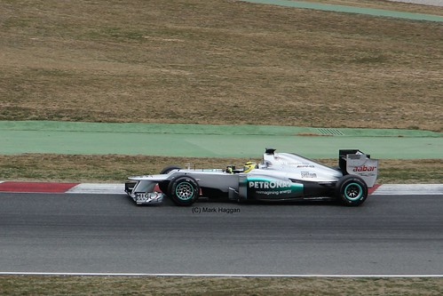 Nico Rosberg in his Mercedes in Winter Testing, Circuit de Catalunya, March 2012