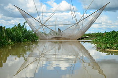 Netted (amirjina) Tags: sky fish reflection net fisherman asia flood south flash bamboo disaster sylhet bangladesh wetland 2012 haor srimongal moulvibazar igc subsistence livelihood sreemongal sreemanga