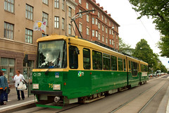 Helsinki HKL 3-car Nr II-type No. 75 on Mannerheimintie on 10 Aug 2012 (A Scotson) Tags: helsinki tram streetcar valmet mannerheimintie hkl lowfloor 3car localtransport nrii