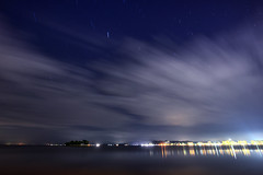 Stars versus Clouds (Yohsuke_NIKON_Japan) Tags: longexposure lake nature composite night clouds star nikon wide shimane nightview lakeshinji d600   1635mm  colorefex nanocrystalcoat