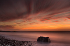 Ice and fire (izzy's-photos) Tags: longexposure sunset sea sky beach rock aberarth blinkagain