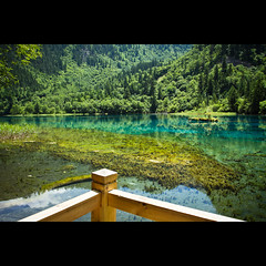 Jiuzhaigou Valley (Timothy TL) Tags: ocean china trees sea sun lake color colour tree green water beautiful canon landscape flickr colours underwater si under chinese lookout valley 7d aba tibetan jiu sichuan zhai jiuzhaigou 1740 chuan gou sichaun 1740mmf40l lakelets