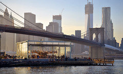 Jane's Carousel (peltier_joseph) Tags: park bridge sunset skyline brooklyn pier jean worldtradecenter carousel brooklynbridge eastriver wtc nouvel glassbox