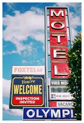 MOTEL (Anita Waters) Tags: film fuji superia motel olympus 400 signage canberra analogue xtra om2n