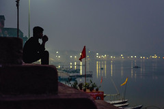 Pondering (ZeNfuZZ) Tags: alone candid silence thinking varanasi lone warrior pondering ganges banaras