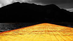yellow (peschiera maraglio - brescia, italy) (bloodybee) Tags: 365project yellow bw selectivecolor floatingpiers christoandjeanneclaude christo art pier walkway lake iseo sebino sulzano monteisola sanpaolo island water brescia italy europe landscape mountain sky