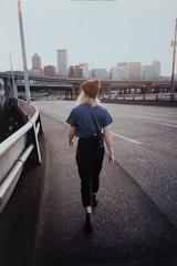 Portland (     ) Tags: bridge girl 35mm portland kodak 400 r1 portra ricoh compact